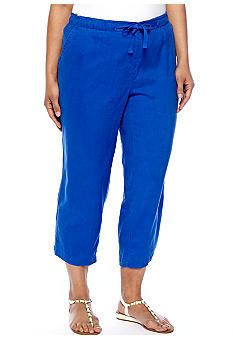 Jones New York Sport Plus Size Linen Crop Pant