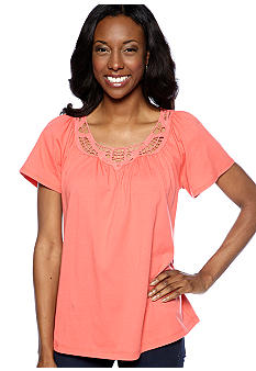Jones New York Sport Flutter Sleeve Crochet Neck Top