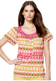 Jones New York Sport Crochet Trim Printed Top