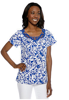Jones New York Collection Printed Crochet Neck Top