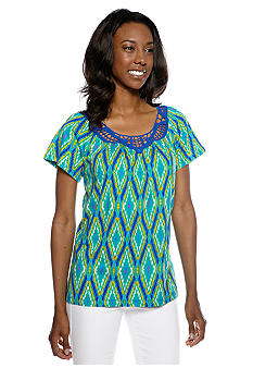 Jones New York Sport Printed Crochet Neck Top