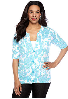 Jones New York Sport Plus Size Print Short Sleeve Cardigan