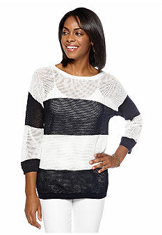 Jones New York Sport Stripe Knit Pullover