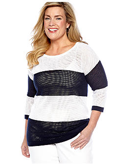 Jones New York Sport Plus Size Open Stitch Sweater