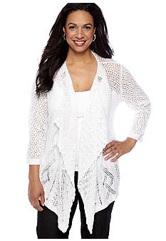 Jones New York Sport Plus Size Open Front Cardigan