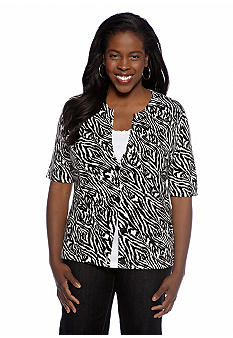 Jones New York Sport Plus Size Printed Cardigan