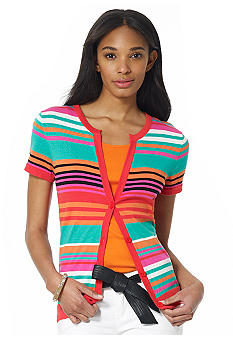 Jones New York Sport Short Sleeve Striped Cardigan