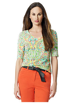 Jones New York Sport Paisley Print V-Neck Top