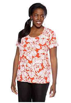 Jones New York Sport Plus Size Printed Scoop Neck Tee