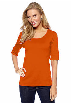 Jones New York Sport Solid Elbow Sleeve Top