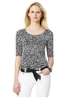 Jones New York Sport Printed Scoop Neck Top