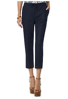 Jones New York Sport Solid Crop Linen Pant