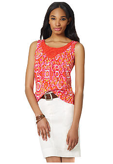 Jones New York Sport Petite Crochet Embellished Tank