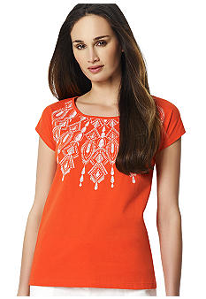 Jones New York Sport Embellished Neckline Tee