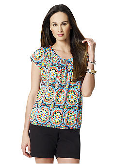 Jones New York Sport Printed Peasant Top