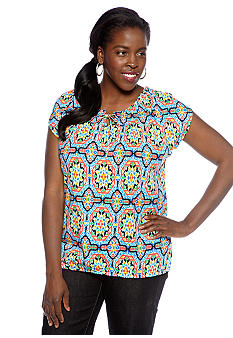Jones New York Sport Plus Size Scoop Neck Top with Self Tie