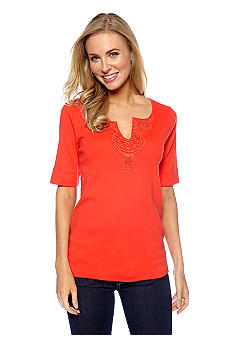Jones New York Sport Crochet Split Neck Top