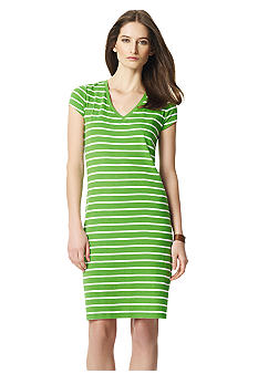 Jones New York Sport Cap Sleeve Stripe Dress
