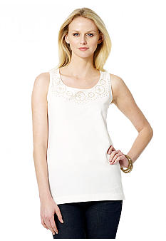 Jones New York Sport Petite Sleeveless Lace Tank