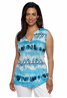 Jones New York Sport Plus Size Split Neck Printed Tunic Top