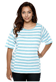 Jones New York Sport Plus Boxy Stripe Top