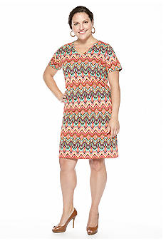 Jones New York Sport Plus Tribal Print Dress