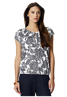 Jones New York Sport Printed Peasant Scoop Neck Tee