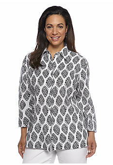 Jones New York Sport Plus Size Printed Boxy Linen Jacket