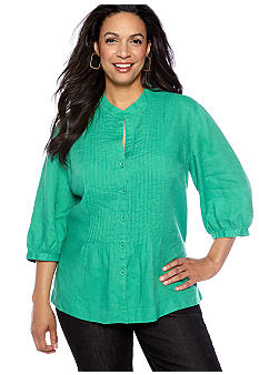 Jones New York Sport Plus Size Pin Tucked Linen Top