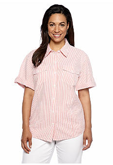 Jones New York Sport Plus Size Stripe Camp Shirt