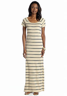 Jones New York Sport Raglan Sleeve Striped Maxi Dress