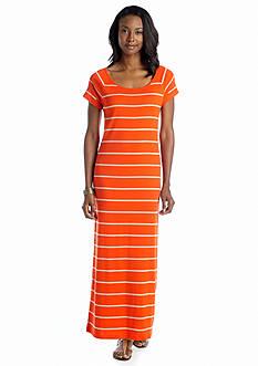 Jones New York Sport Raglan Sleeve Striped Maxi Dress