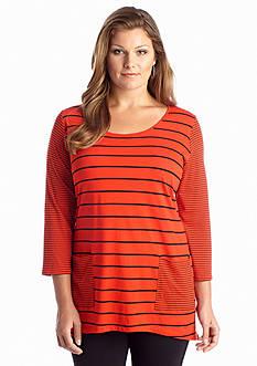 Jones New York Sport Plus Size Stripe Front Pocket Top