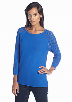 Jones New York Sport Textured Raglan Sleeve Sweater