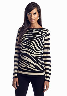 Jones New York Sport Animal Print Boat Neck Pullover
