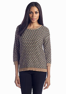 Jones New York Sport Marled Three-Quarter Sleeve Sweater