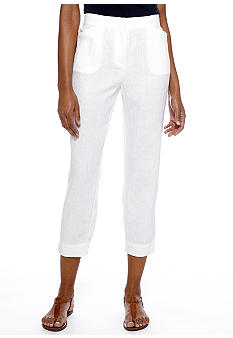 Jones New York Sport Flat Front Linen Pant