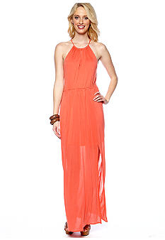 Red Haute Jersey Halter Maxi Dress