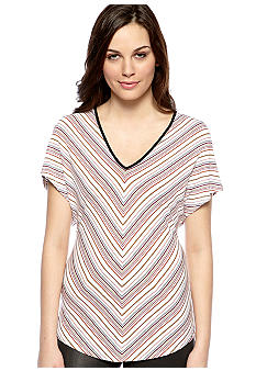Red Haute Melange Stripe V-Neck Knit Tee