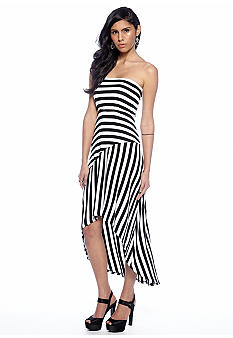 Red Haute Hi Lo Strapless Striped Dress