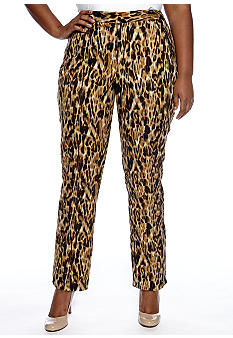 Rafaella Form + Function Plus Size Brushed Cheetah Pant