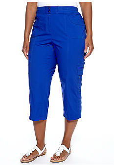 Rafaella Form + Function Plus Size Stretch Poplin Cargo Capri