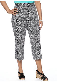 Rafaella Form + Function Plus Size Printed Sateen Capri