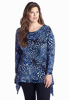 Rafaella Plus Size Sharkbite Hem Knit Top