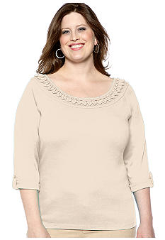 Rafaella Form + Function Plus Size Ruffle Trim Knit Top