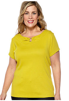Rafaella Form + Function Plus Size Knit Top With Center Ring