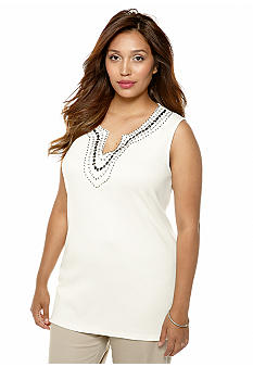Rafaella Form + Function Plus Size Embellished Tank