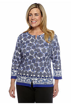 Rafaella Form + Function Plus Size Medallion Print Cardigan