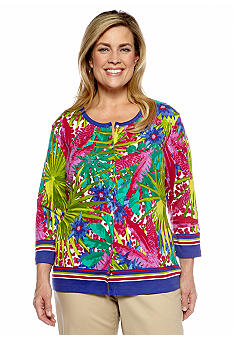 Rafaella Form + Function Plus Size Tropical Print Cardigan