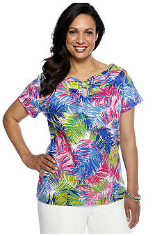Rafaella Form + Function Plus Size Tropical Print Keyhole Top